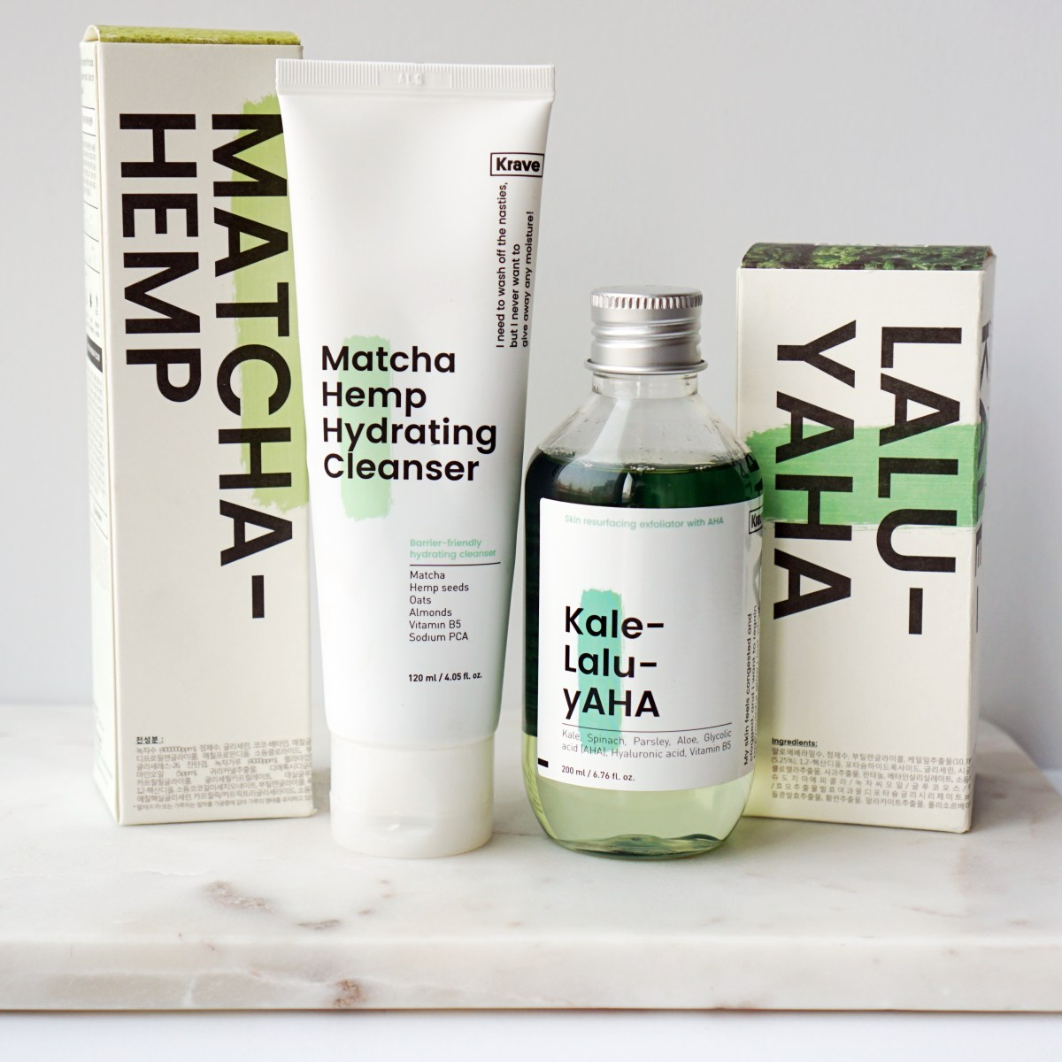 Krave Review - Kale-Lalu-yAHA & Matcha Hemp Cleanser